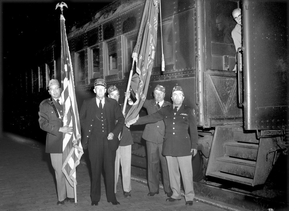 """The scene as the last scheduled passenger train prepared to leave the depot in Waterville on Sept. 5, 1960, the last day of passenger rail service in the city. A veterans group color guard joined the conductor for the final """"all aboard."""" Nearly 55 years later, some Waterville city councilors say the time has come for the return of passenger rail service."""