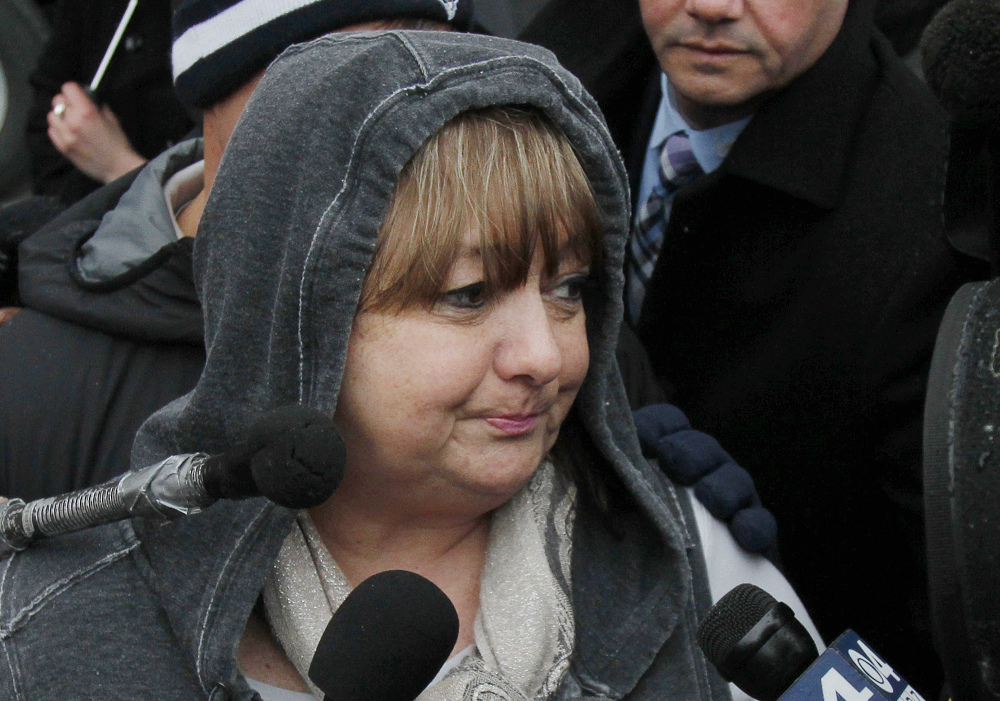 """Liz Norden, whose two sons lost legs in the Boston Marathon bombing, speaks outside federal court in Boston on Wednesday after Dzhokhar Tsarnaev was convicted on all charges in the 2013 bombing. """"I don't understand how anyone could have done what he did,"""" said Norden, who wants Tsarnaev to get the death penalty."""