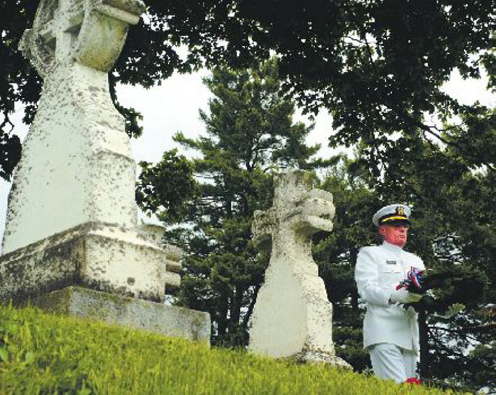 Retired Navy Capt. Robert G. Fuller laid a wreath on the new grave marker of Civil War Maj. Gen. Seth Williams during a 2007 ceremony at Forest Grove Cemetery. Fuller is a relative of Williams.