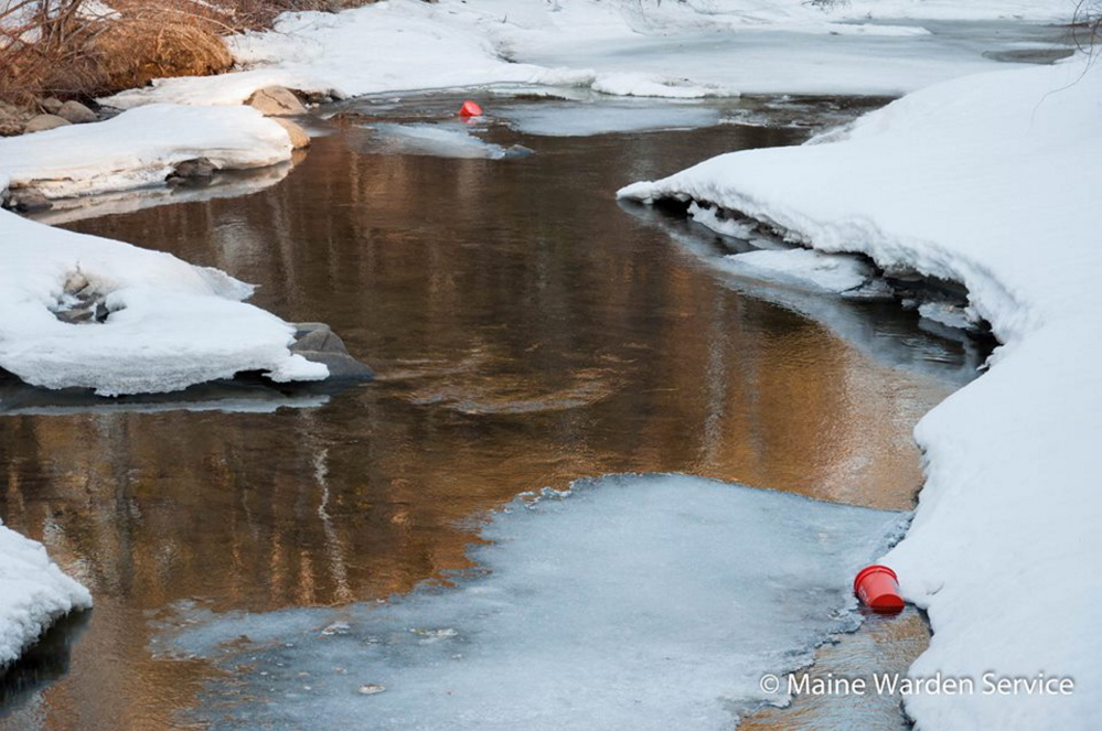 Five-gallon Home Depot buckets, reportedly filled with used adult diapers, have been dumped along Wilson Stream in Wilton and Temple Stream in Farmington over the past couple months.
