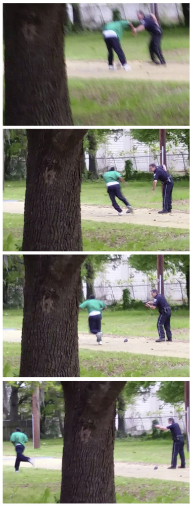In this combination of images from a video taken Saturday and provided by the attorney representing the family of Walter Lamer Scott, Scott appears to break away from a confrontation with Officer Michael Thomas Slager, right. As Scott runs away, Slager pulls out his handgun and fires at Scott, who drops to the ground after the eighth shot. Slager was fired and charged with murder after the release of the video.
