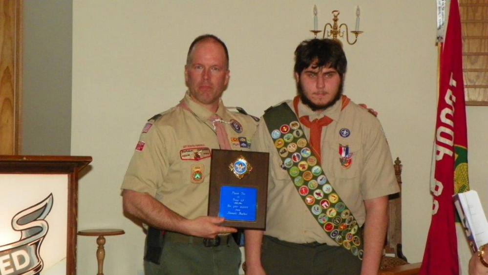 Kenneth Basford, right, and his Scoutmaster Rod Charette.