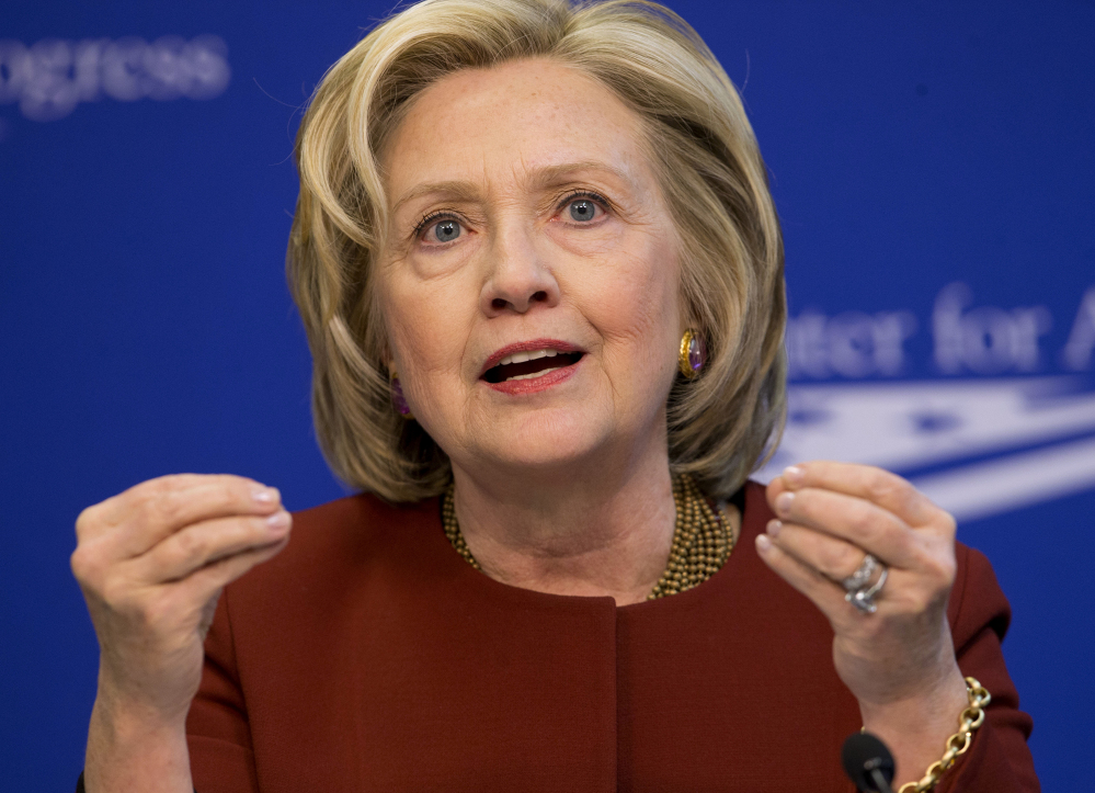 In this March 23, 2015 file photo, former Secretary of State Hillary Rodham Clinton speaks in Washington.