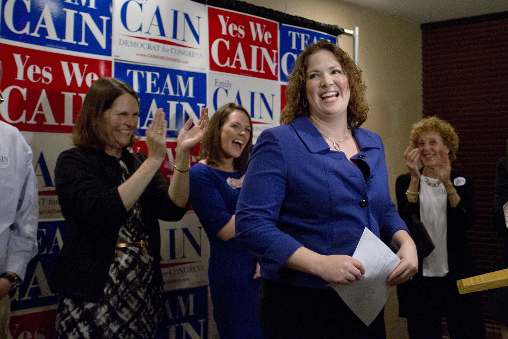 Democratic candidate for the 2nd Congressional District Emily Cain waits for results from the primary election in 2014.