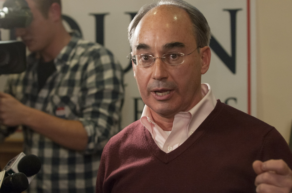 Bruce Poliquin speaks to his supporters gathered in Bangor in 2014.