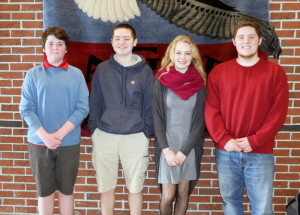 OAKLAND — Messalonskee High School has announced its April Students of the Month. They are Max Walsh, freshman; Andrew Poulliot, sophomore; Emily Lagace, juniors; and Spencer DeWitt , senior. These students were chosen for their academic improvement/excellence and their contribution to the Messalonskee school community, according to a news release from the high school. The students were nominated by MHS faculty members and chosen by the school's Culture Committee and Leadership Team. The students' pictures will be on display. In addition, they will receive preferential parking at the school as well as a variety of items donated by local businesses that support Messalonskee's goal of honoring excellence in the school. From left, are Max Walsh, Andrew Poulliot, Emily Lagace and Spencer DeWitt.