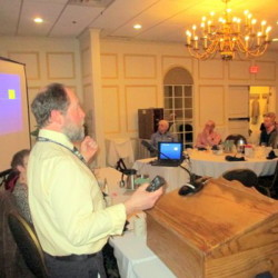 """Contributed photo Bob Stillwell of the Maine State Radon Program spoke recently to Augusta Kiwanians about what radon is all about and what it can do in water. """"The only way to determine if your house had a radon problem is to conduct a radon test with equipment obtained from most any hardware store with a cost of about $25,"""" he said in a news release submitted by Augusta Kiwanis Publicity Chair Milt Huntington. He recommended Radon, which can cause lung cancer, be tested in every Maine well. Rental buildings are required to conduct periodic testings. There are no such regulations for private"""
