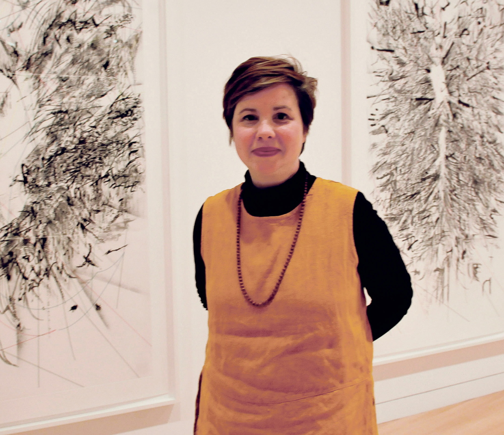 Patricia King at the Colby College Art Museum as it received the Community Service Project of the Year award from the Mid-Maine Chamber of Commerce.