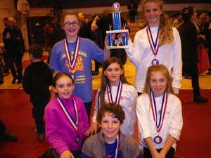 Odyssey of the Mind team members, front center, are Evan Smith; second row, from left, Ella Shaffer, Mya Laliberte and Emily Eastlack; and back, from left, Lily Lavallee and Hannah McMillan.