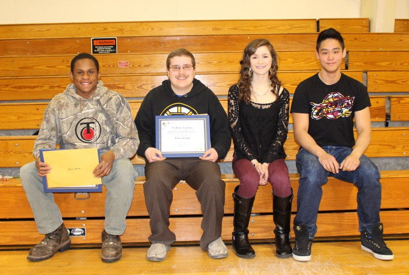 Senior of the Trimester recipients, from left, are Dan Rice, James Poulin, Sarah Jordan and Yao Xiao.