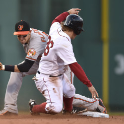 Boston Red Sox's Brock Holt, right, steals second as the ball gets past Baltimore Orioles second baseman and Portland native Ryan Flaherty, left, in the seventh inning Saturday at Fenway Park. Baltimore won 4-1.