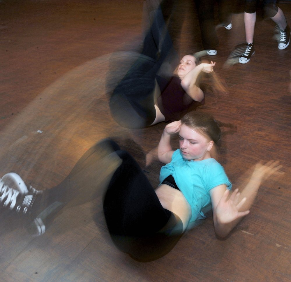 Josie Libby, 14, rehearses a routine with her dance group at Bradley's School of Dance in Skowhegan on Friday.