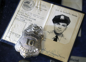 The shield and identity of Augusta police officer Abraham Lacasse was donated to the Augusta Police Department last week by Lacasse's son, Bill.