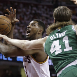 "Cleveland Cavaliers' Tristan Thompson (13) drives to the basket against Boston Celtics' Kelly Olynyk (41) during the first round of the NBA playoffs Sunday in Cleveland. The ""Big 3"" garner all the hype and headlines, but the Cavaliers are much more than LeBron James, Kyrie Irving and Kevin Love. Cleveland's bench came through in Game 1 against Boston as reserves Thompson and James Jones made huge contributions in the 113-100 win."