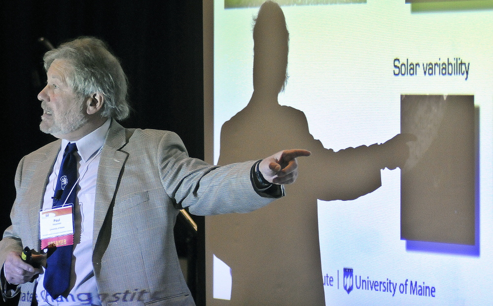 """Paul Andrew Mayewski, director of the Climate Change Institute at the University of Maine, presents the keynote address Tuesday at the seventh annual Maine Partners in Emergency Preparedness Conference in Augusta. Mayewski spoke on a """"Journey into Climate and Implications for Maine."""""""