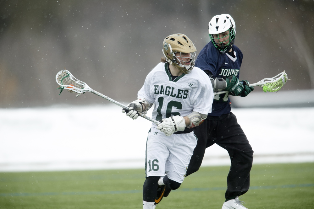 Husson University's Zack Glazier has scored 33 goals this season to rank fifth in the North Atlantic Conference. The Winthrop graduate has also caused 17 turnovers and is second on the team with 66 ground balls.