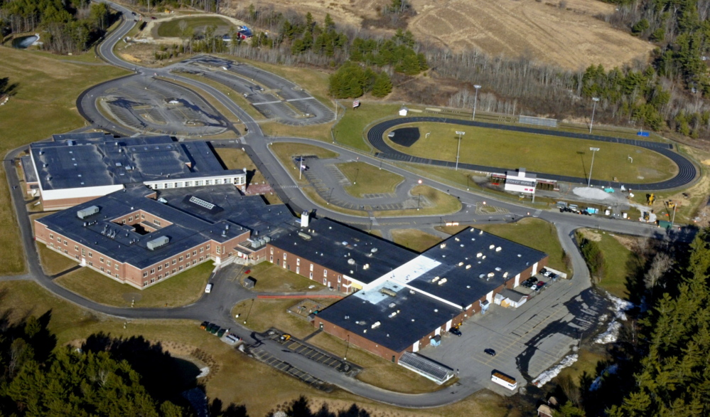 This April 2007 file photo shows Cony High School and the Capital Area Technical Center in Augusta. Alumni Field is at the top right. The Elsie and William Viles Foundation is donating $250,000 to improve Alumni Field.