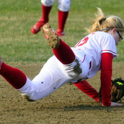 Cony shortstop Autumn Sudsbury makes a diving catch during a Kennebec Valley Athletic Conference Class A game Wednesday afternoon in Augusta.