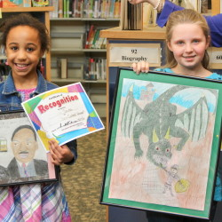 Gabrielle Sousa, left, placed second in the K-3rd grade category, she won $250. She is a second-grader at Hall-Dale Elementary School. Allie Young, placed first in category 4th-6th grade and won $500. She is a 5th grader at Hall-Dale Elementary School.