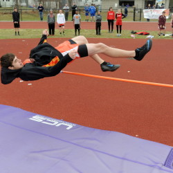 """Gardiner High School's Connor McGuire clears 4'6"""" in the high jump in the Waterville Relays at Waterville Senior High School on Thursday."""