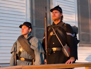 Two re-enactors from the 20th Maine Co., from left, are B. Brendon Howe and Carman Kirkpatrick.