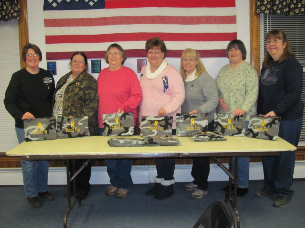 "Madison American Legion Auxiliary recently prepared and sent thank-you care packages to active duty American Legion members. Auxiliary members who participated included, from left, Harriet Bryant, Kathleen Randall, Lauraine Mercier, Robin Turek, Sandy Ingalls, Tena Ireland and Pat Santoni. Each gift was put in a camouflage zippered bag with the words Thank You embroidered on it. The 31 bags were purchased through American Legion Auxiliary member Sharelyn Parker. They were filled with items such as toiletries and fun stuff. The packages were mailed to the 10 members of the American Legion Post 39, Madison, who are on active duty in the military (stateside and abroad), according to a news release from the auxiliary. For more information about the auxiliary, visit <a href=""ALAforVeterans.org"">ALAforVeterans.org</a> or <a href=""mainelegionpost39.org"">mainelegionpost39.org</a>."
