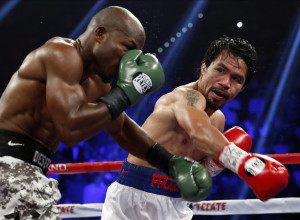 Manny Pacquiao, right, has not had a knockout in six years. It's been eight years for Floyd Mayweather, Jr. Their fight May 2 in Las Vegas is not expected to end with a TKO.