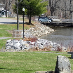 The area between the Richmond gazebo and the Swan Island boat launch in Richmond, shown Friday, is the proposed location of a paved path linking the two landmarks.