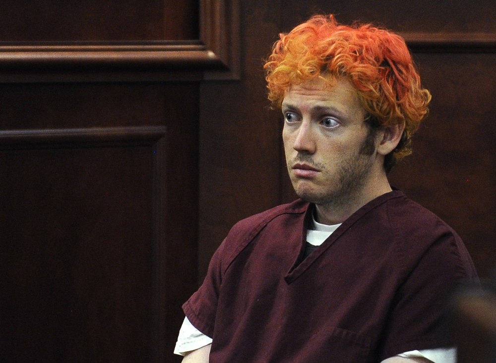 In this July 2012 photo, James Holmes sits in Arapahoe County District Court in Centennial, Colo. Holmes faces trial starting on Monday in the mass shooting in an Aurora, Colo., movie theater that left 12 dead and 70 wounded.