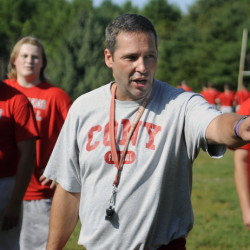 Robby Vachon oversees a drill during a Cony football practice last August. Vachon announced he's resigned after 8 seasons as Cony coach. He cited personal reasons.
