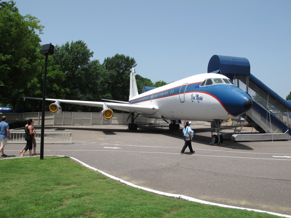 This July 1, 2014, file photo, shows the Lisa Marie, one of two jets once owned by late singer Elvis Presley, that is used as a tourist exhibit at the Graceland tourist attraction in Memphis, Tenn.