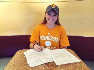 Sadie Hammond, a Belgrade native, signs her National Letter of Intent to play tennis at the University of Tennessee.