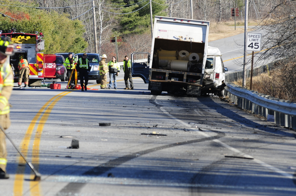 Emergency crews work at the scene of a collision between a conversion van and a panel truck near the intersection of U.S. Route 202 and Royal Street in Winthrop in November 2013. The crash killed Napoleon Richard St. Laurent, 80, and Patricia St. Laurent, 74.