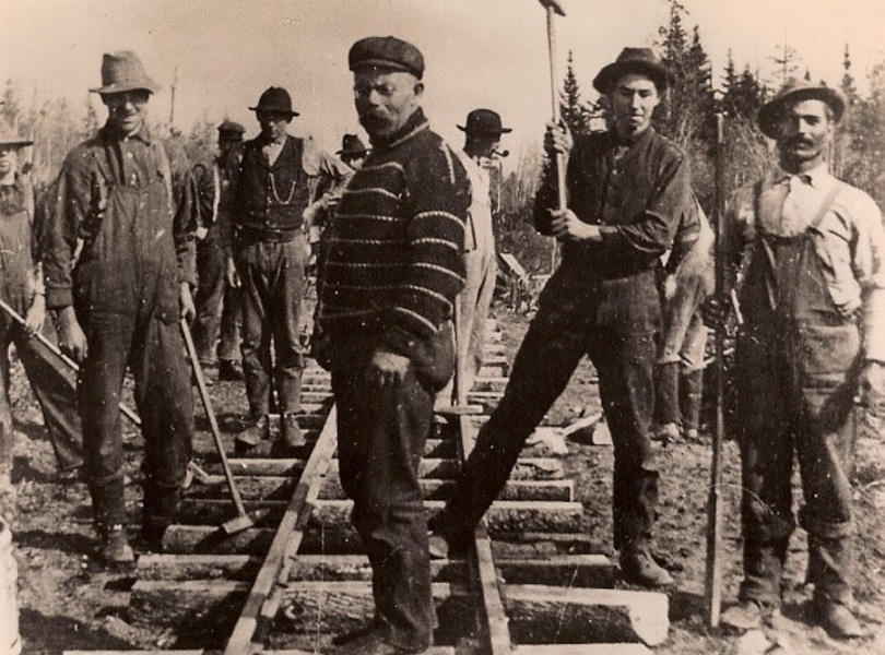 This Phillips Historical Society photograph shows a crew building the Eustis Railroad in 1904 somewhere between Eustis Junction near Dallas and Berlin Mills Camps near Nash Stream. Many artifacts of Franklin County's past are available at the Phillips society, one of a dozen historical groups that will sponsor a tour of county museums and historical societies next month in an effort to build interest in the region's history.