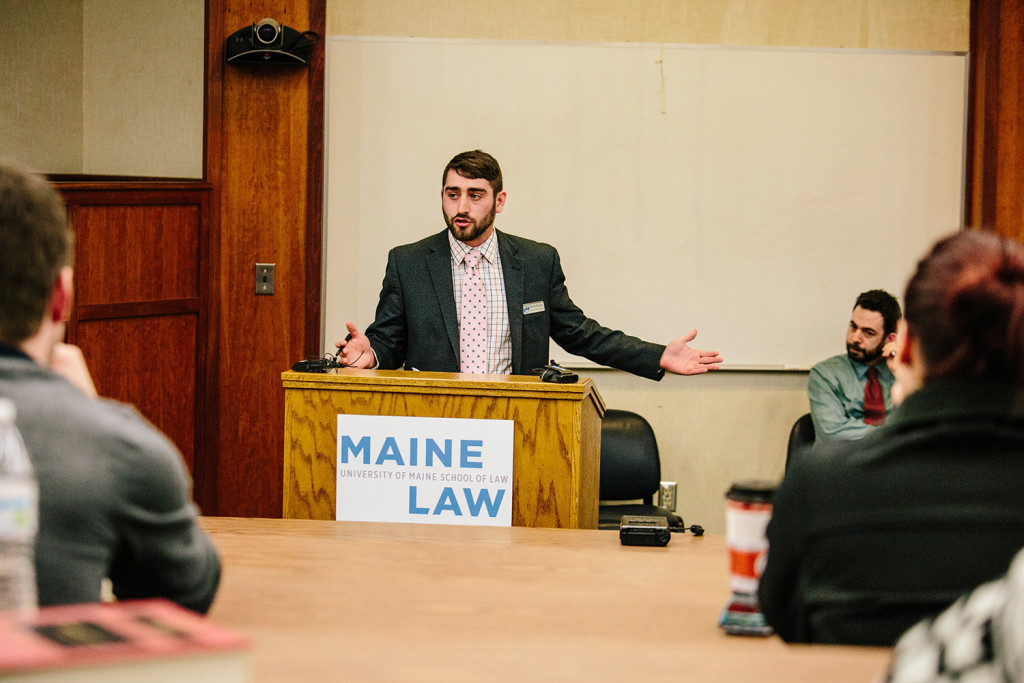 David Boyer from Campaign to Regulate Marijuana Like Alcohol speaks during the Maine Law Federalist Society debate on marijuana reform in the Middle Room of the University of Maine School of Law in Portland.