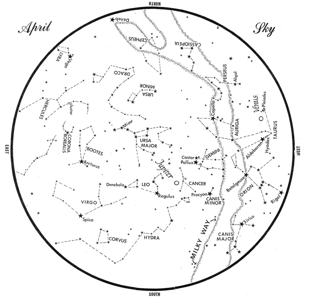 This chart represents the sky as it appears over Maine in April. The stars are shown as they appear at 10:30 p.m. early in the month, at 9:30 p.m. at midmonth and at 8:30 p.m. at month's end. Jupiter and Venus are shown in their midmonth positions. To use the map, hold it vertically and turn it so that the direction you are facing is at the bottom.
