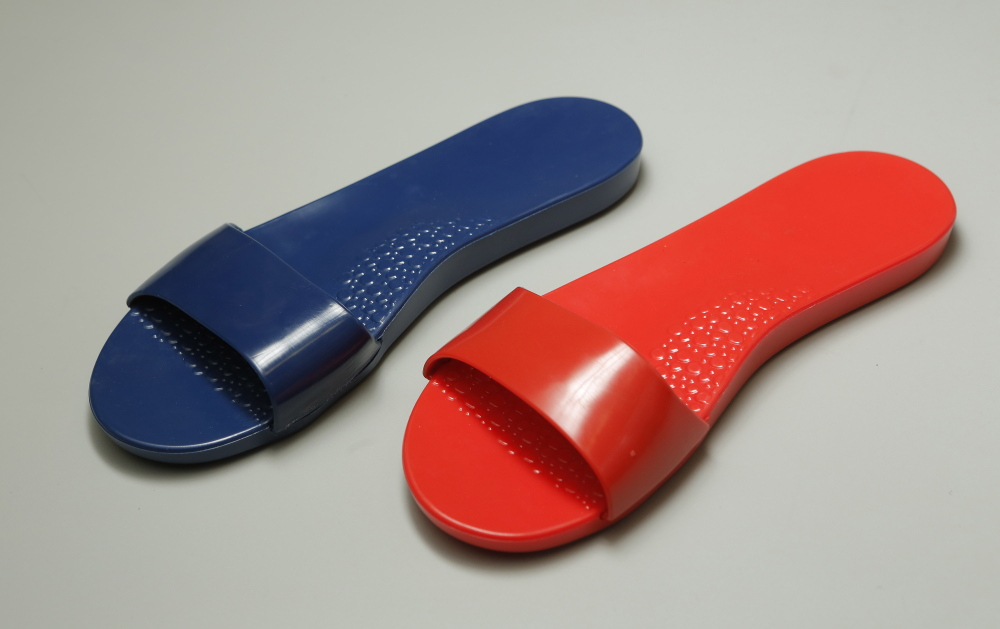 A prototype sandal made by G&G Products in Kennebunk for Soak, a company started by two New York designers who have joined forces to launch a line of casual women's footwear in Maine.