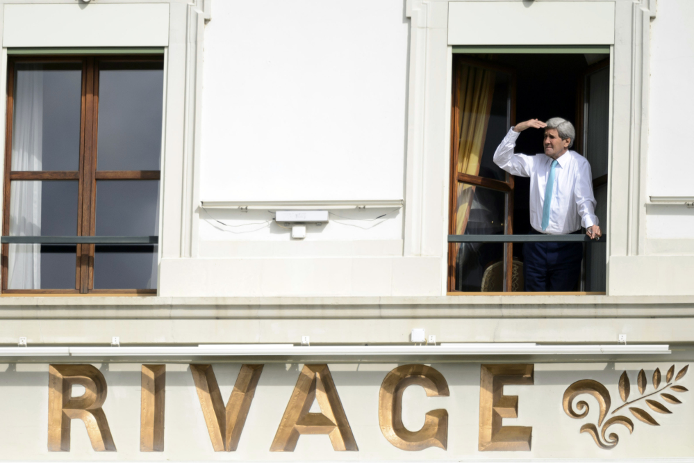 U.S. Secretary of State John Kerry delayed his departure from Switzerland on Wednesday as the Iran nuclear talks continue.