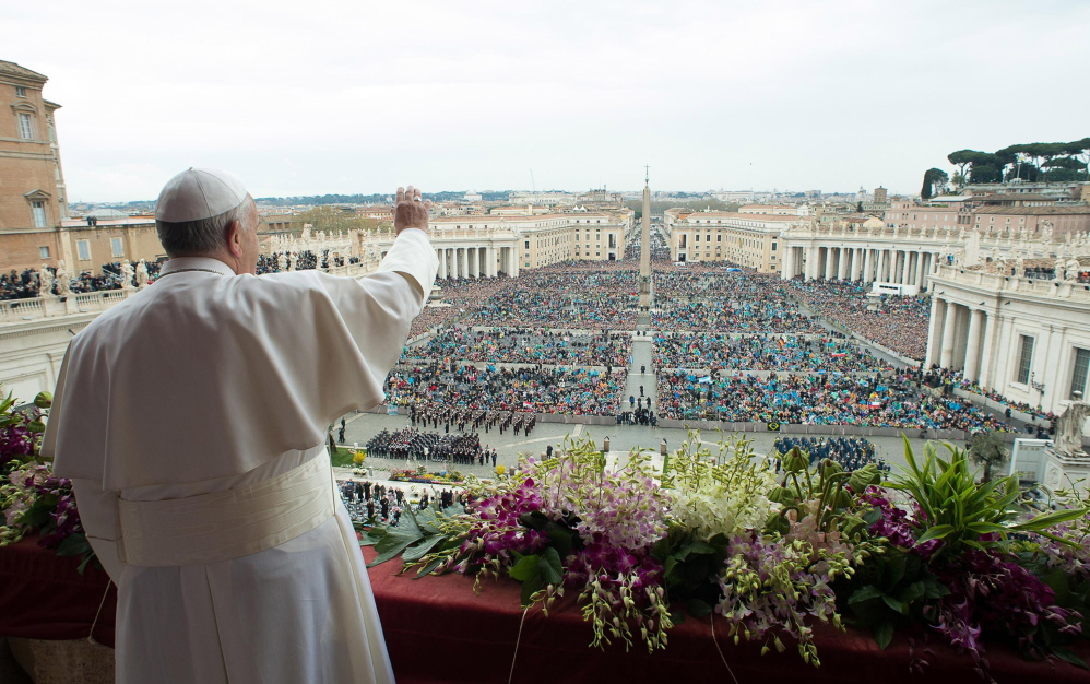 """Pope Francis delivers the Urbi et Orbi – """"to the city and to the world"""" – blessing at the end of the Easter Sunday Mass in St. Peter's Square at the Vatican on Sunday, as he expressed concern for a number of conflict-ridden areas in the world."""