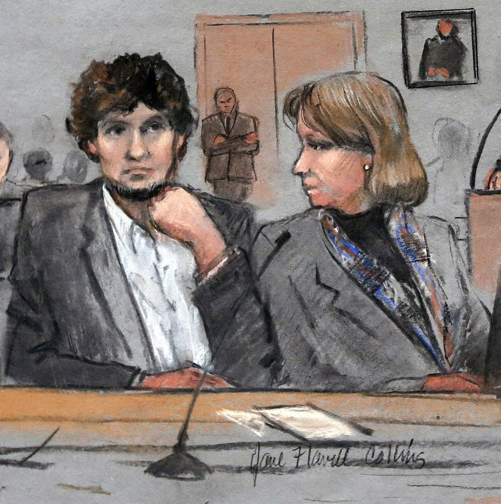 Attorney Judy Clarke's challenge is to present Dzhokhar Tsarnaev, at left in this courtroom sketch, as a human being, albeit one struggling with serious problems.