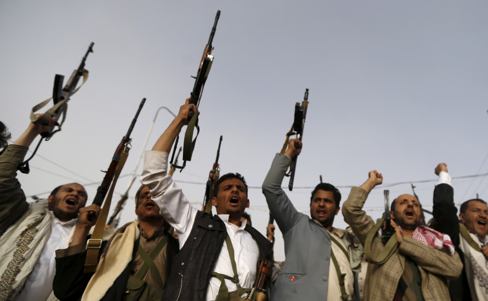 Houthi rebels raise weapons as they shout slogans against the Saudi-led airstrikes in Sanaa. The rebels have detained more than 120 activists and political figures suspected of supporting the Saudi-led coalition in its strikes against the insurgents.