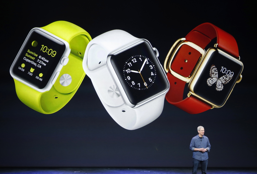 Apple CEO Tim Cook speaks about the Apple Watch during an event in September at the Flint Center in Cupertino, Calif.