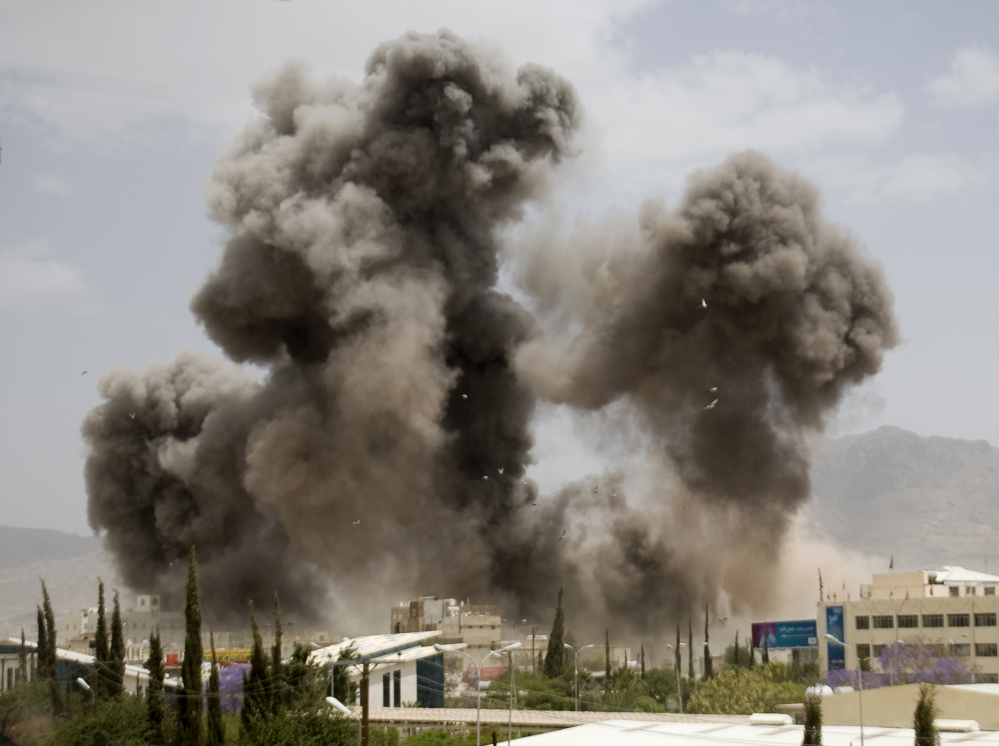 Smoke billows from a Saudi-led airstrike on Sanaa, Yemen, Wednesday, Insurgents seem to have protected many of their weapons stockpiles from bombardments.