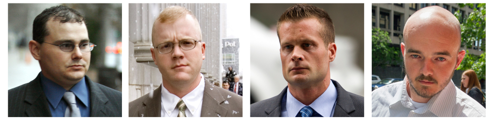 Former Blackwater security guards, from left, Dustin Heard, Paul Slough, Evan Liberty and Nicholas Slatten face sentencing this week after being convicted of a deadly mass shooting of civilians in an Iraq war zone.