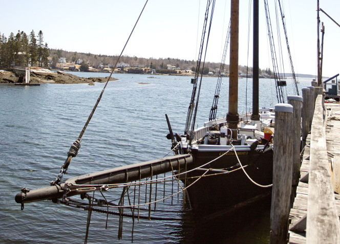The schooner Ernestina-Morrissey is seen at the Boothbay Harbor Shipyard on Monday, after it was towed from New Bedford, Mass.