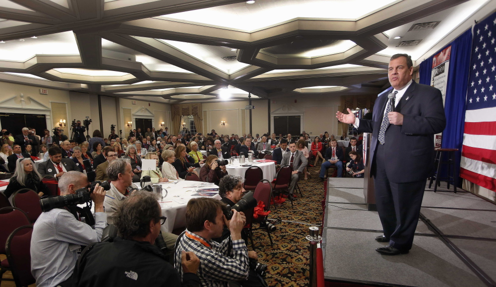 New Jersey Gov. Chris Christie. speaks at a Republican Leadership Summit on Friday in Nashua, N.H.