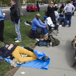 People wait in line Monday, some for three days, for a seat at Tuesday's gay marriage hearing at the Supreme Court in Washington.