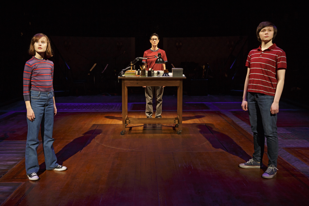 """Sydney Lucas as Small Alison, Beth Malone as Alison, and Emily Skeggs as Medium Alison in """"Fun Home"""" at Circle in the Square Theatre in New York. O&M Co. photo"""