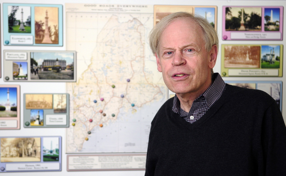 Earle Shettleworth Jr., at his office Tuesday in Augusta, says he decided it would be a good time to leave as director of the Maine Historic Preservation Commission after he turns 67 in August. He has led the agency since 1975, and during his administration the commission has nominated 1,592 Maine properties to the National Register of Historic Places.