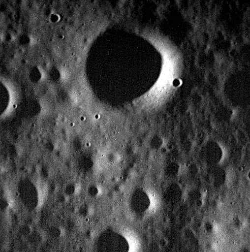 This Wednesday, April 29, 2015 photo provided by NASA shows one of the last images sent by the Messenger spacecraft which is expected to impact the surface of the planet Mercury on Thursday, April 30, 2015. The largest crater in this image has a diameter of 330 meters (0.2 miles).